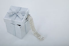 Silver christmas gift box Stock Photos