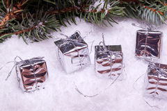 Silver christmas gift boxes Stock Photo