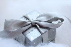Silver Christmas gift Stock Photography