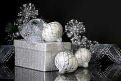 Silver Christmas Gift and Ornaments Stock Image