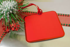 Silver Christmas Gift - Red Tag Royalty Free Stock Photo