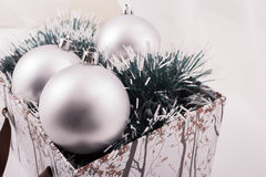 Silver Christmas Gift With Ornaments Royalty Free Stock Photo