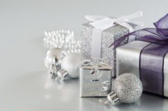 Silver Christmas Gifts Stock Photo