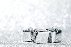 Silver christmas gifts Stock Photos