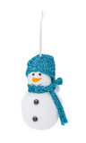 Silver Christmas hanging snowman Stock Images