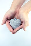Silver christmas heart Stock Photography