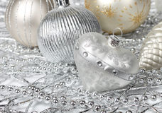 Silver Christmas heart Stock Photos