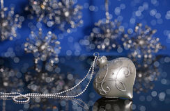 Silver Christmas Ornament with Pearls royalty free stock images