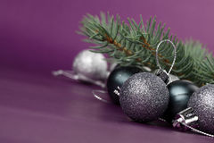Silver Christmas ornaments Stock Photo