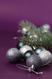 Silver Christmas ornaments Royalty Free Stock Photos