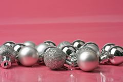 Silver christmas ornaments Stock Images