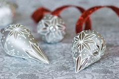 Silver Christmas ornaments Stock Photography
