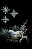Silver Christmas ornaments Royalty Free Stock Images