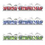Silver Christmas Ornaments. A clip art illustration of your choice of 3 silver Christmas ornament banners or logos featuring 'Merry Christmas' in gradient Royalty Free Stock Photography