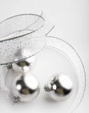 Silver Christmas Ornaments Background Royalty Free Stock Photo