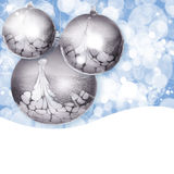 Silver Christmas Ornaments ~ Blue Bokeh Background. Silver Christmas Ornaments On Colorful Blue And White Blured Bokeh Light Background, Snowflakes And Star Stock Photos