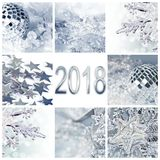 2018, silver christmas ornaments collage greeting card. 2018, silver christmas ornaments collage square greeting card Royalty Free Stock Photography