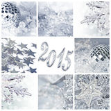 2015, silver christmas ornaments. And decorations collage Stock Photos