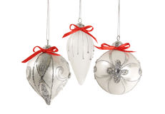 Silver Christmas Ornaments Isolated Stock Images