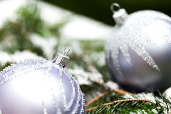 Silver Christmas ornaments in leaves Stock Photo