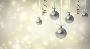 Silver Christmas Ornaments Stock Image