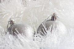 Silver Christmas ornaments Stock Photos