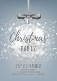 Silver Christmas party flyer with glass ball Stock Images