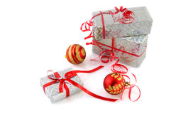 Silver christmas presents Stock Images