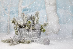 Silver Christmas Sleigh stock images