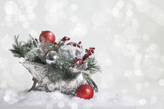 Silver Christmas Sleigh 3 Royalty Free Stock Images