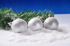 Silver Christmas on snow Stock Photography