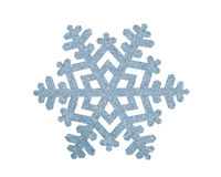 Silver Christmas snowflake isolated on white. Background Royalty Free Stock Image