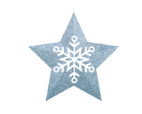 Silver Christmas star with snowflake isolated on white Royalty Free Stock Photo