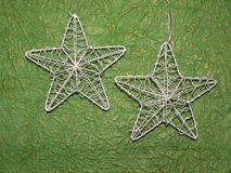 Silver Christmas stars Stock Photos