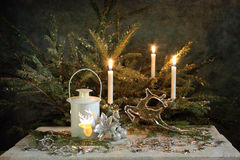 Silver Christmas still life Stock Photos
