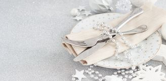 Silver Christmas Table Setting royalty free stock photography