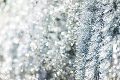Silver Christmas tinsel Stock Photo