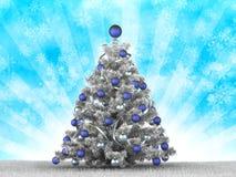Silver christmas tree. On blue background stock illustration