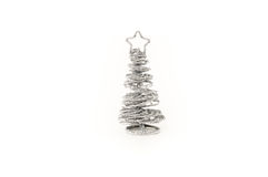 Silver Christmas Tree. Little Mini Silver Christmas Tree Decoration Stock Photos