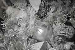 Silver christmas tree background. Silver christmas tree with christmas ball and christmas decoration Royalty Free Stock Photography