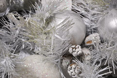 Silver christmas tree background. Silver christmas tree with christmas ball and christmas decoration Stock Photography