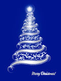 Silver Christmas tree on blue background. Illustration of an abstract silver christmas tree with curved branches on blue background Stock Photo