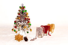 A silver Christmas tree with colourful decorations Royalty Free Stock Image