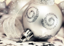 Silver Christmas tree ornament Stock Image