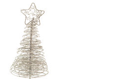 Silver Christmas tree. Shiny silver Christmas tree isolated on white Stock Photos