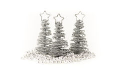 Silver Christmas Trees Stock Photography