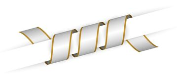 Silver christmas twisted ribbon. With the gold edge Royalty Free Stock Photos