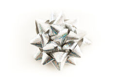 Silver Christmas Wrapping Bow.  Stock Image