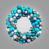 Silver christmas wreath with decorations isolated on gray background Stock Photo