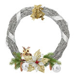 Silver Christmas wreath isolated on the white background Stock Photos